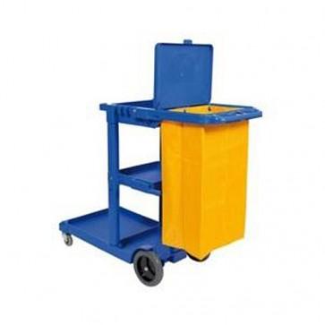 Carro de limpieza azul con bolsa y tapa