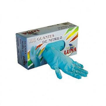 Guantes de nitrilo azul un solo uso s/polvo en dispensador de 100 unidades