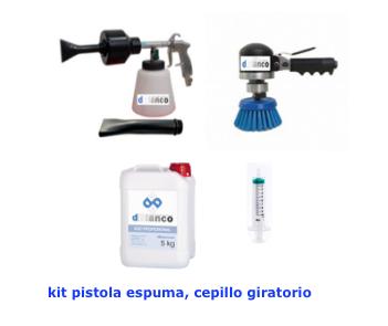 Kit Pistola de Espuma y Cepillo giratorio de limpieza tapicerias