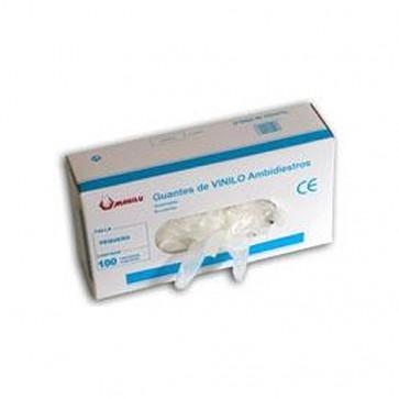 Guantes de vinilo un solo uso c/polvo en dispensador de 100 unidades