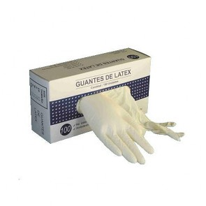 Guantes de latex ultrasensible c/polvo en dispensador de 100 unidades