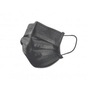 Mascarilla de protección negra de 3 capas desechable.
