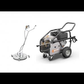 Equipo para limpieza de suelos conectado a hidrolimpiadora.