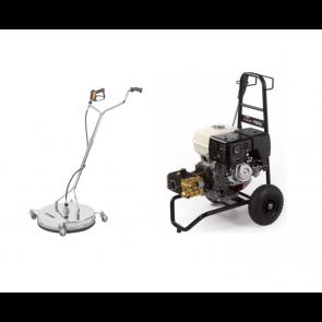 Equipo de lavapavimentos conectado a hidrolimpiadora.