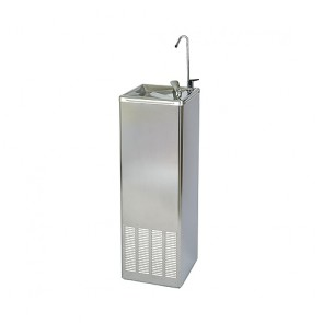 Fuente agua fría acero inox. brillante con grifo rellena vasos