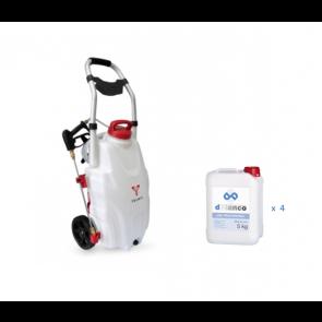 Kit pulverizadora con ruedas autónoma con desinfectante