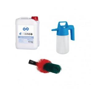 kit limpieza alcalina de llantas con pulverizador y cepillo.