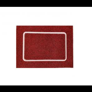 Alfombra de rizo rojo con bandeja de líquido desinfectante para entradas
